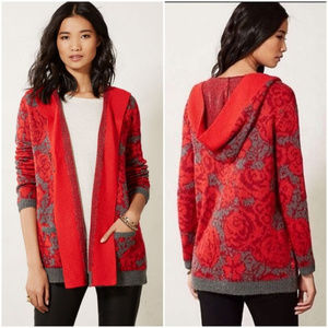 Anthro Sparrow maraschino floral sweater hooded